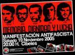 Til minne om martyrene fra kampen mot Franco-fascismen, myrdet i 1975.