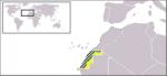 Kart over Sahrawi (Vest-Sahara). Fra Wikipedia Commons.