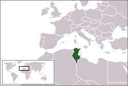 Tunisia. Kart fra Wikipedia Commons